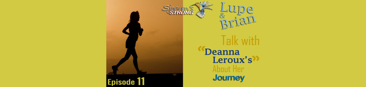 Episode 11 Banner, Deanna Leroux's Journey. Runner with an orange sky